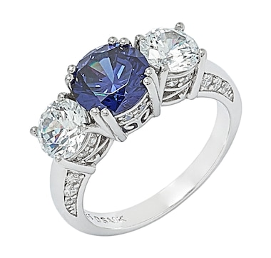 Tanzanite Illusions Sterling Silver Simulated Tanzanite and Cubic Zirconia Trinity Ring