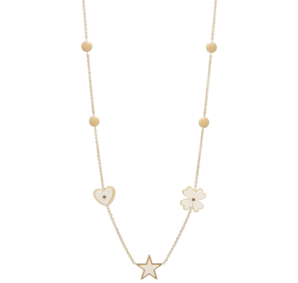 Image 550410_WHT.jpg , Product 550-410 / Price $1,599.99 , Pomi Jewellery 14K Yellow Gold Enamel Flower, Heart and Star Necklace from Pomi on TSC.ca's Jewellery department