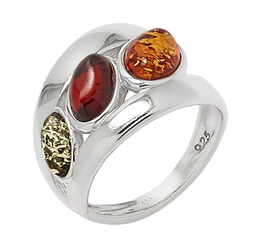 Amber Extraordinaire Sterling Silver Multi Gemstone Ring