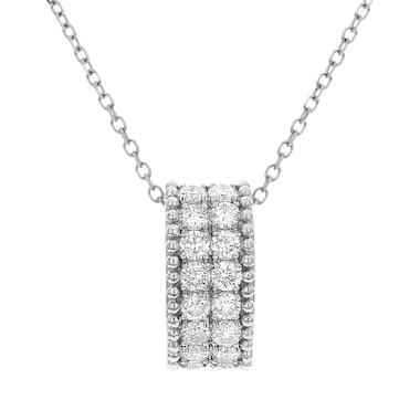 Diamond Couture 18K Gold Oval Barrel Diamond Drop Pendant and Chain