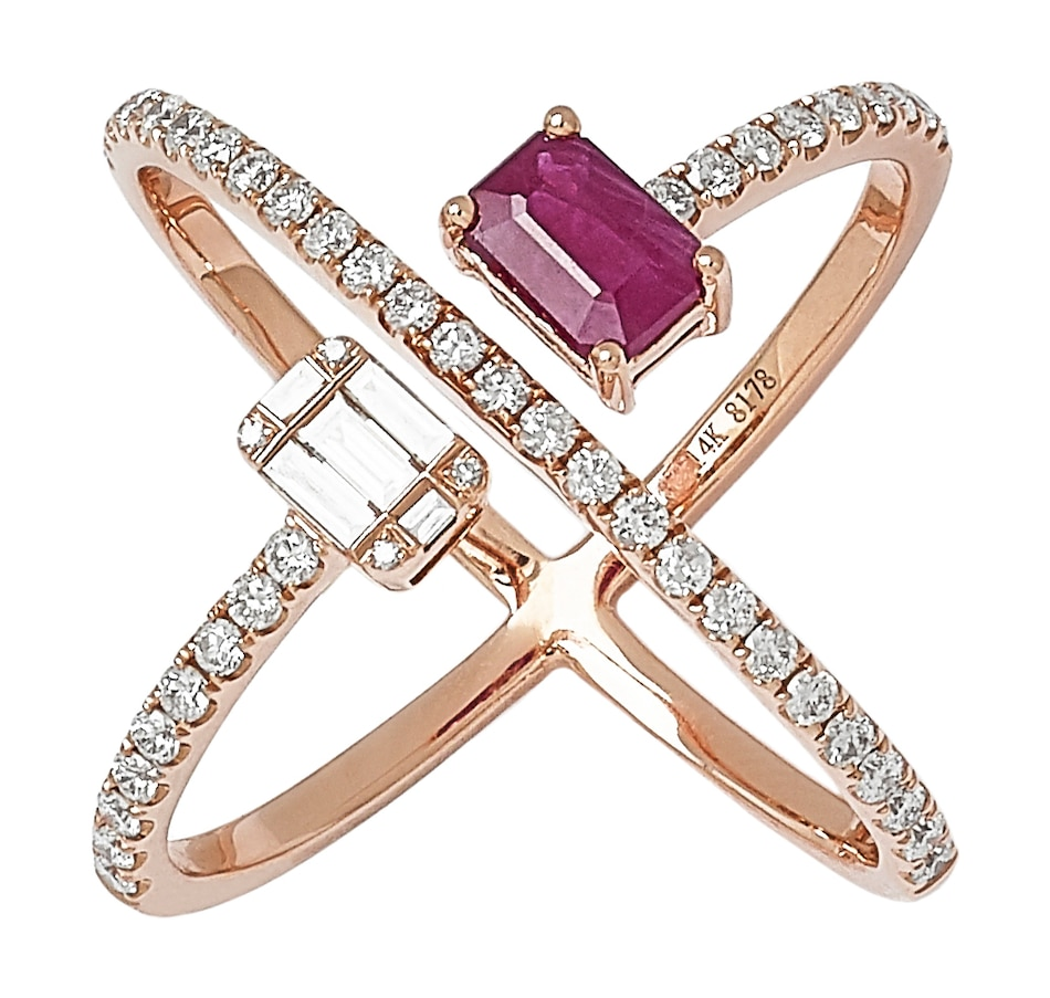 Image 551029.jpg , Product 551-029 / Price $2,193.99 , Graziela Fine Jewellery 14K Rose Gold Ruby & Diamond X Ring from Graziela Fine Jewellery on TSC.ca's Jewellery department