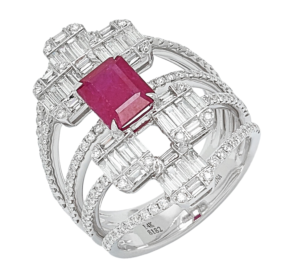 Image 551030.jpg , Product 551-030 / Price $5,599.99 , Graziela Fine Jewellery 14K White Gold Ruby & Diamond Dome Ring from Graziela Fine Jewellery on TSC.ca's Jewellery department