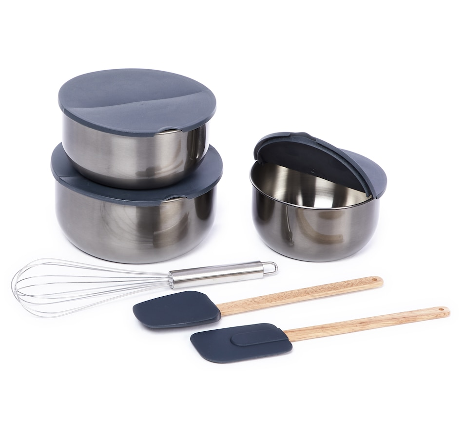 Image 551542_GUN.jpg , Product 551-542 / Price $25.88 , Todd English 9-Piece Stainless Steel Bowls, Hinged Lid and Tool Set from Todd English on TSC.ca's Kitchen department