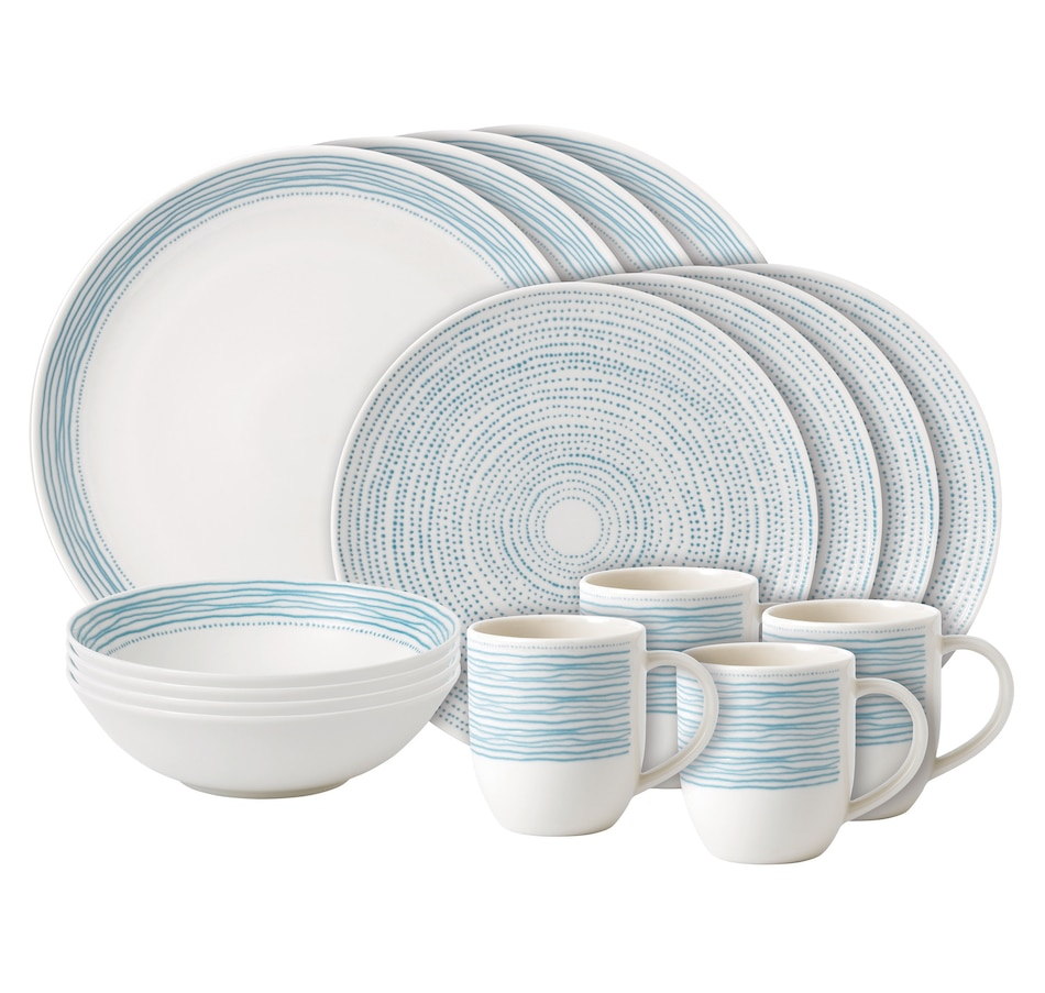 Image 551753.jpg , Product 551-753 / Price $125.99 , Ellen DeGeneres Crafted by Royal Doulton Polar Blue Dots 16-Peice Set from Ellen DeGeneres by Royal Doulton on TSC.ca's Coins & Hobbies department