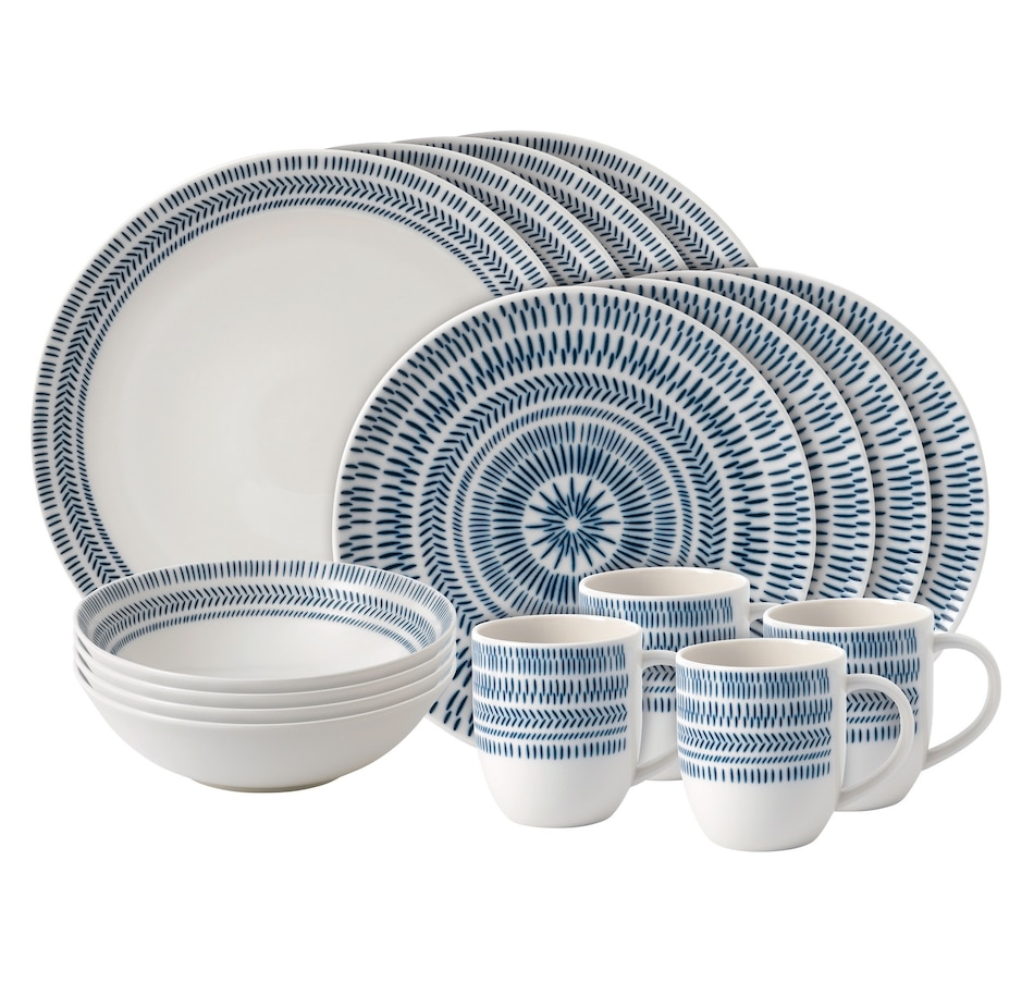Image 551754.jpg , Product 551-754 / Price $119.99 , Ellen DeGeneres Crafted by Royal Doulton Cobalt Blue Chevron 16-Piece Set from Royal Doulton on TSC.ca's Kitchen department