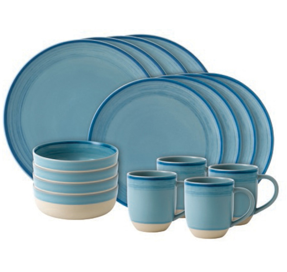 Image 551757.jpg , Product 551-757 / Price $125.99 , Ellen DeGeneres Crafted by Royal Doulton Polar Blue Brushed Glaze 16-Piece Set from Royal Doulton on TSC.ca's Kitchen department