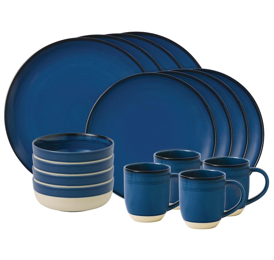 Image 551758.jpg , Product 551-758 / Price $109.99 , Ellen DeGeneres Crafted by Royal Doulton Polar Cobalt Blue 16-Piece Set from Ellen DeGeneres by Royal Doulton on TSC.ca's Kitchen department