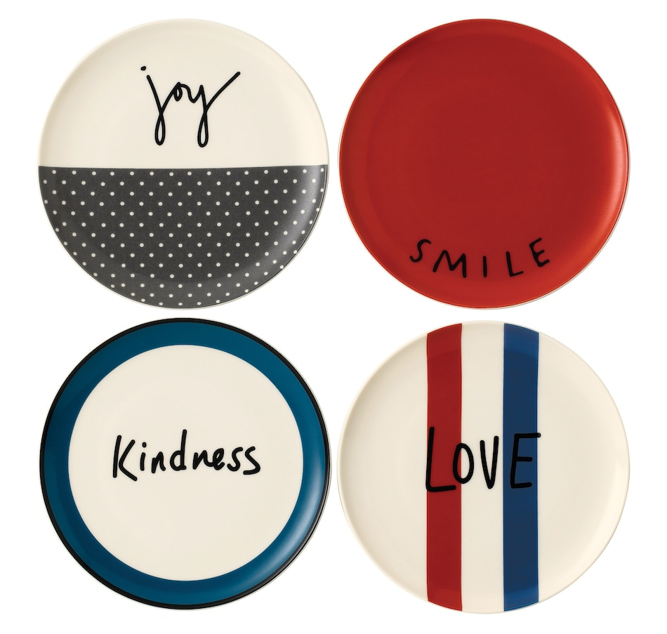 Image 551765.jpg , Product 551-765 / Price $34.95 - $37.50 , Ellen DeGeneres Crafted by Royal Doulton Words Plates - Set of 4 from Ellen DeGeneres by Royal Doulton on TSC.ca's Kitchen department