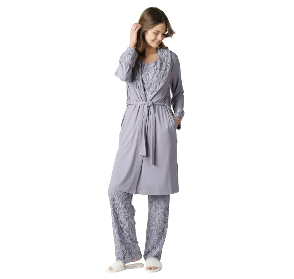 Image 551846_LAV.jpg , Product 551-846 / Price $89.99 , Guillaume Home Lace and Luxe Jersey Robe from Guillaume Home on TSC.ca's Fashion department