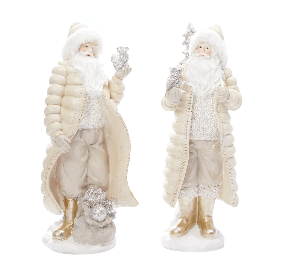 Tsc Ca Holiday Memories Resin Forest Santa With Fur Hat Set Of 2