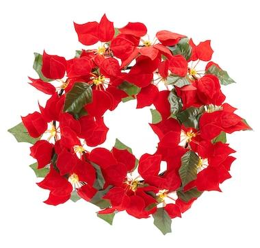 Holiday Memories Indoor Poinsettia Wreath