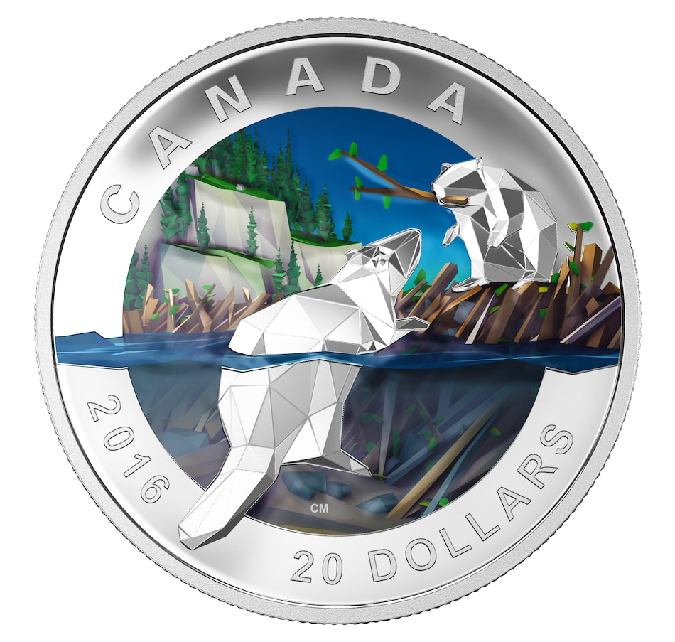 Image 552698.jpg , Product 552-698 / Price $99.95 , 2016 $20 Fine Silver Beaver Coin from Royal Canadian Mint on TSC.ca's Coin department