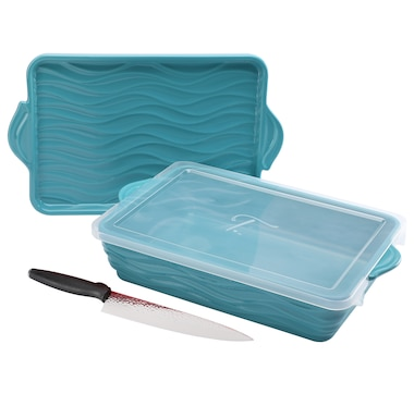 "Wavelength by temp-tations 13"" x 9"" Baker with Lid and Chef Knife"