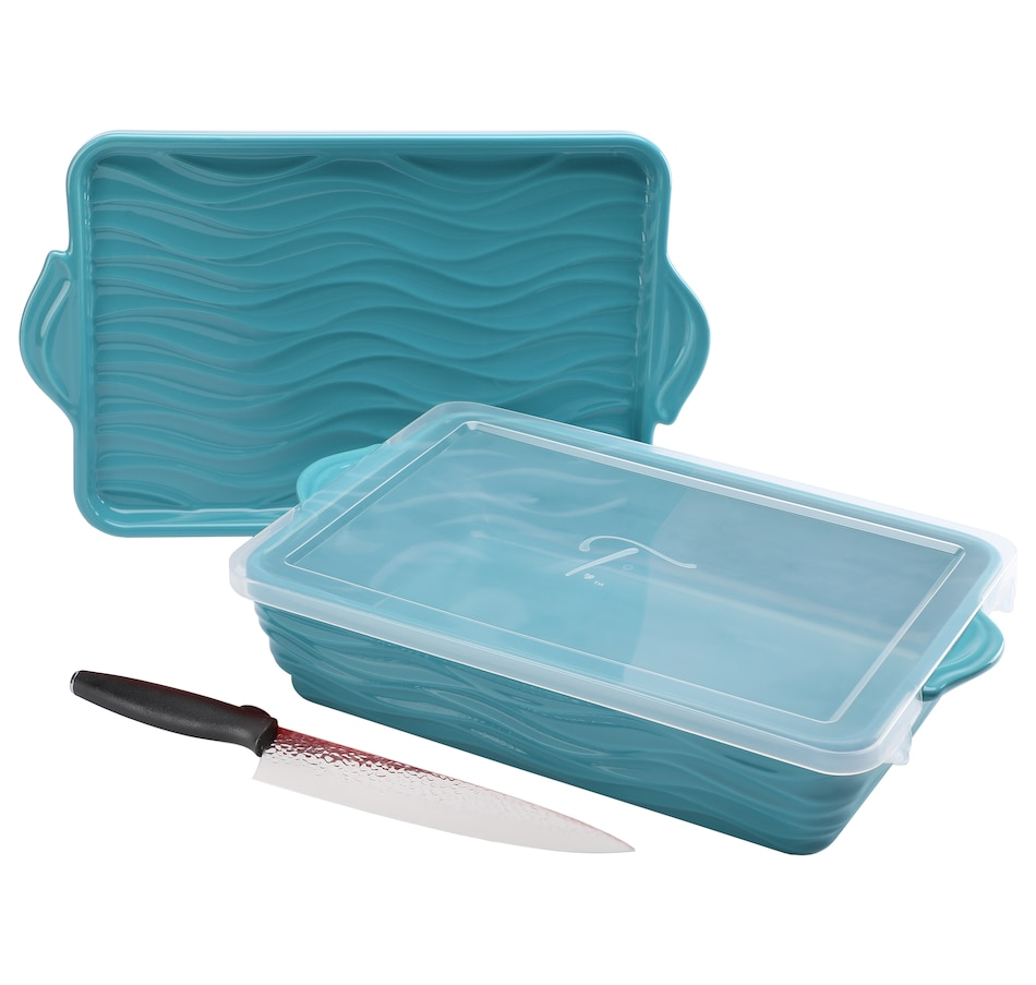 "Image 552916_TLE.jpg , Product 552-916 / Price $48.33 , Wavelength by temp-tations 13"" x 9"" Baker with Lid and Chef Knife from Temp-tations on TSC.ca's Kitchen department"