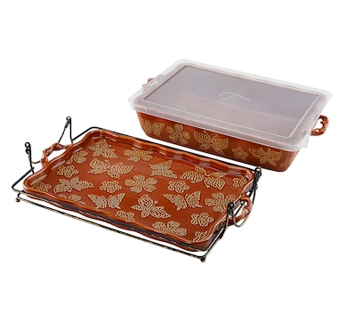 """All a Flutter by temp-tations 13"""" x 9"""" Baker with Lid and Baker Rack"""