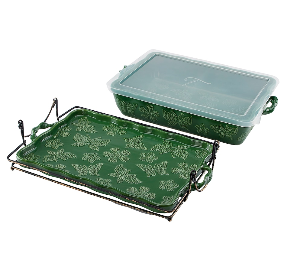"Image 552917_GRN.jpg , Product 552-917 / Price $48.88 , All a Flutter by temp-tations 13"" x 9"" Baker with Lid and Baker Rack from Temp-tations on TSC.ca's Kitchen department"