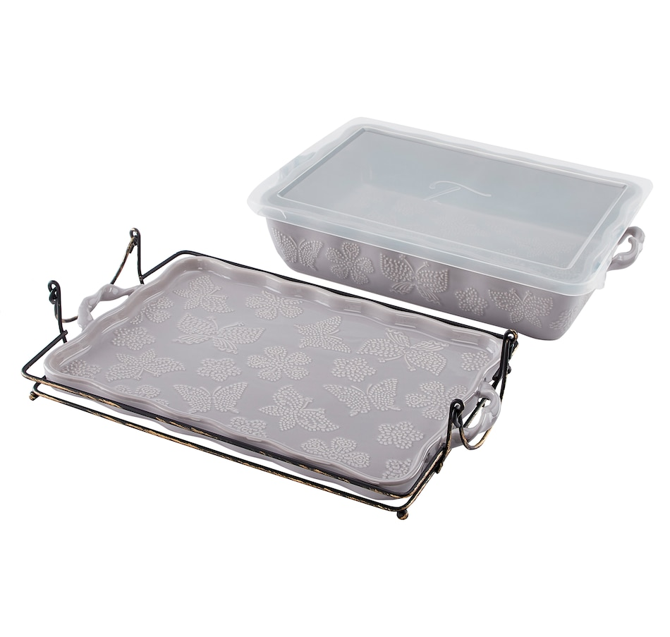 "Image 552917_GRY.jpg , Product 552-917 / Price $48.88 , All a Flutter by temp-tations 13"" x 9"" Baker with Lid and Baker Rack from Temp-tations on TSC.ca's Kitchen department"