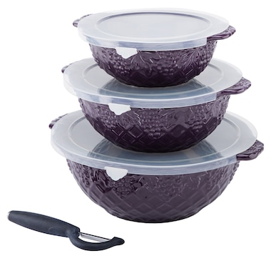Dee-vine by temp-tations Nesting 1-2-3 Quart Bowls with Peeler