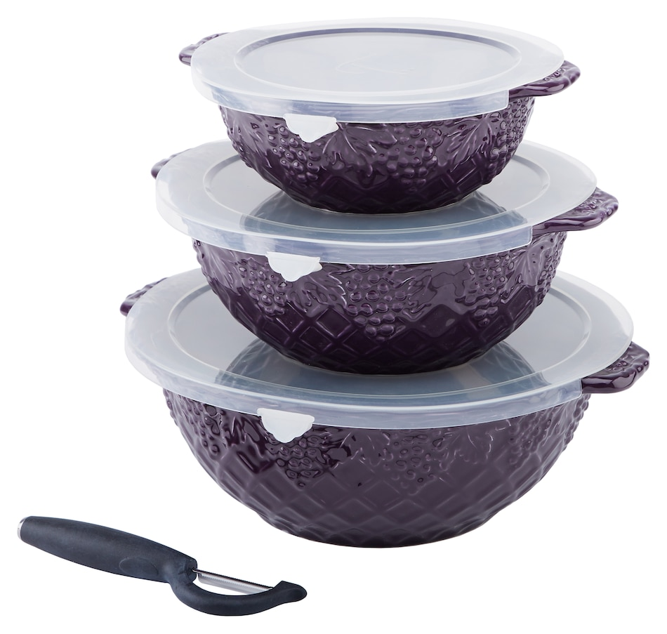 Image 552976_EGP.jpg , Product 552-976 / Price $55.88 , Dee-vine by temp-tations Nesting 1-2-3 Quart Bowls with Peeler from Temp-tations on TSC.ca's Kitchen department