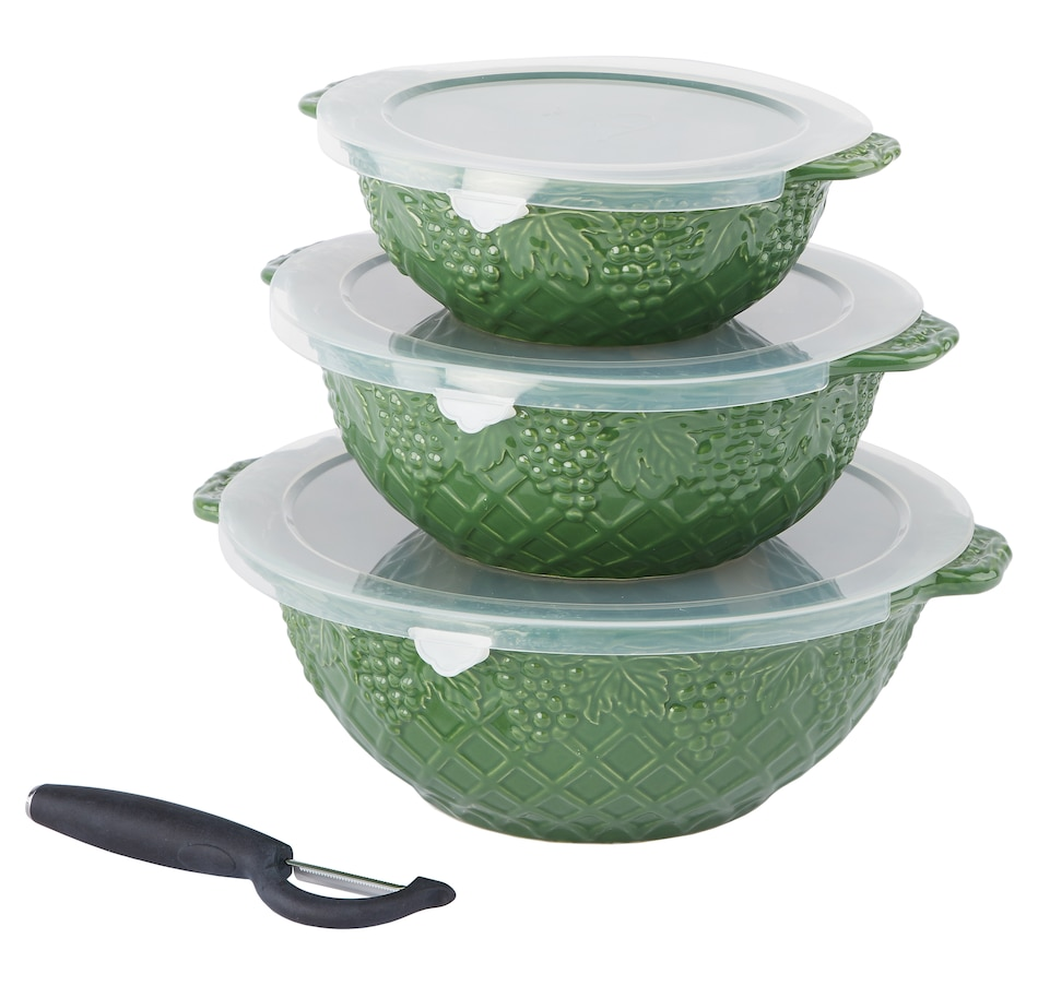 Image 552976_GRNGN.jpg , Product 552-976 / Price $34.33 , Dee-vine by temp-tations Nesting 1-2-3 Quart Bowls with Peeler from Temp-tations on TSC.ca's Kitchen department