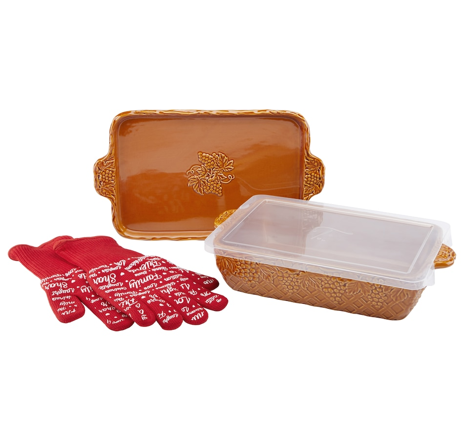 "Image 552977_AMB.jpg , Product 552-977 / Price $34.88 , Dee-vine by temp-tations 11"" x 7"" Baker and Lid with Gloves from temp-tations on TSC.ca's Kitchen department"