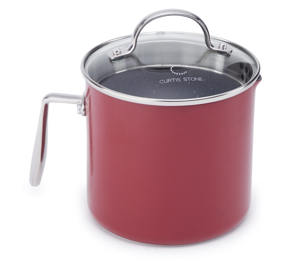 Image 553017_RED.jpg , Product 553-017 / Price $39.99 , Curtis Stone Dura-Pan Non-Stick Two-Quart Jug Saucepan with Tempered Glass Lid from Curtis Stone on TSC.ca's Kitchen department