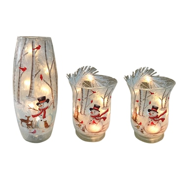 Holiday Memories Set of 3 LED Frosted Vases