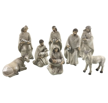 Holiday Memories Frosted Nativity 8-Piece Set