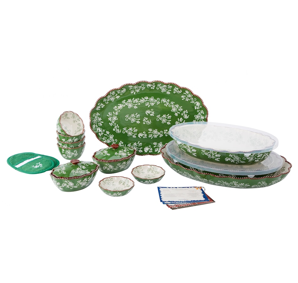 Image 553310_FLGRN.jpg , Product 553-310 / Price $153.99 , temp-tations 16-Piece Ruffled Edge Bake and Serve Set from temp-tations on TSC.ca's Kitchen department