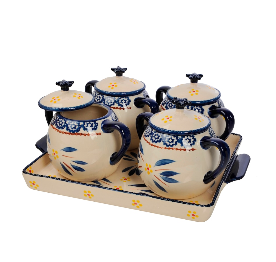 Image 553325_OWBLU.jpg , Product 553-325 / Price $62.99 , temp-tations Set of 4 Soup Crocks with Oval Tray from Temp-tations on TSC.ca's Kitchen department