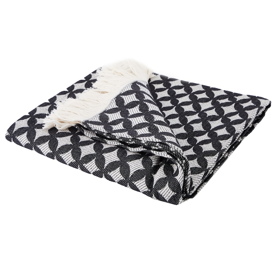 Image 553399.jpg , Product 553-399 / Price $34.33 , Debbie Travis Cotton Throw (Black/Ivory) from Debbie Travis on TSC.ca's Home & Garden department