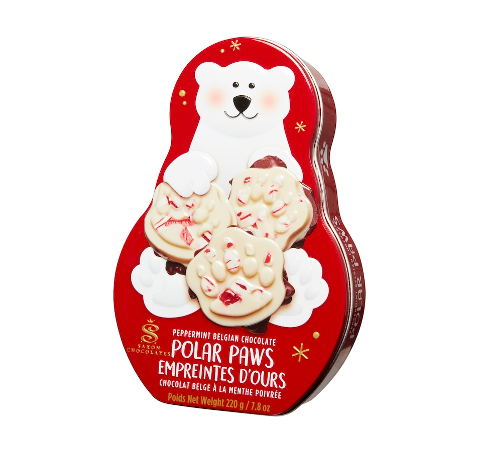 Image 553579.jpg , Product 553-579 / Price $18.33 , Saxon Chocolate Peppermint Polar Paw Tin from Saxon Chocolates on TSC.ca's Kitchen department
