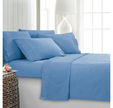 St. Clair Microfibre 6-Piece Sheet Set with Lace Detail