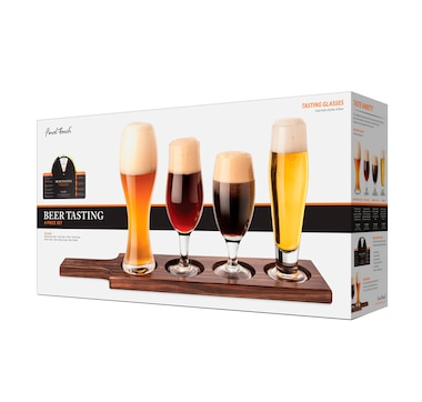 Final Touch Beer Tasting Set of 4 Glasses and Wood Yard Holder