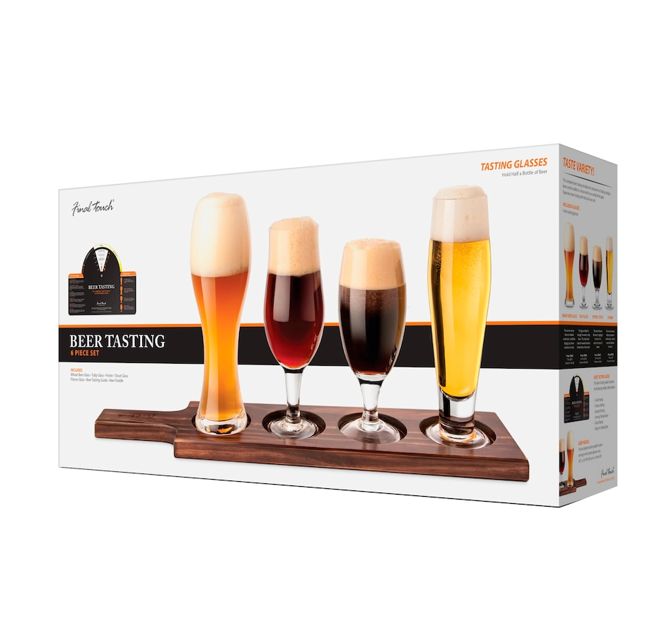 Image 554032_DRKPN.jpg , Product 554-032 / Price $47.99 , Final Touch Beer Tasting Set of 4 Glasses and Wood Yard Holder from Final Touch on TSC.ca's Kitchen department