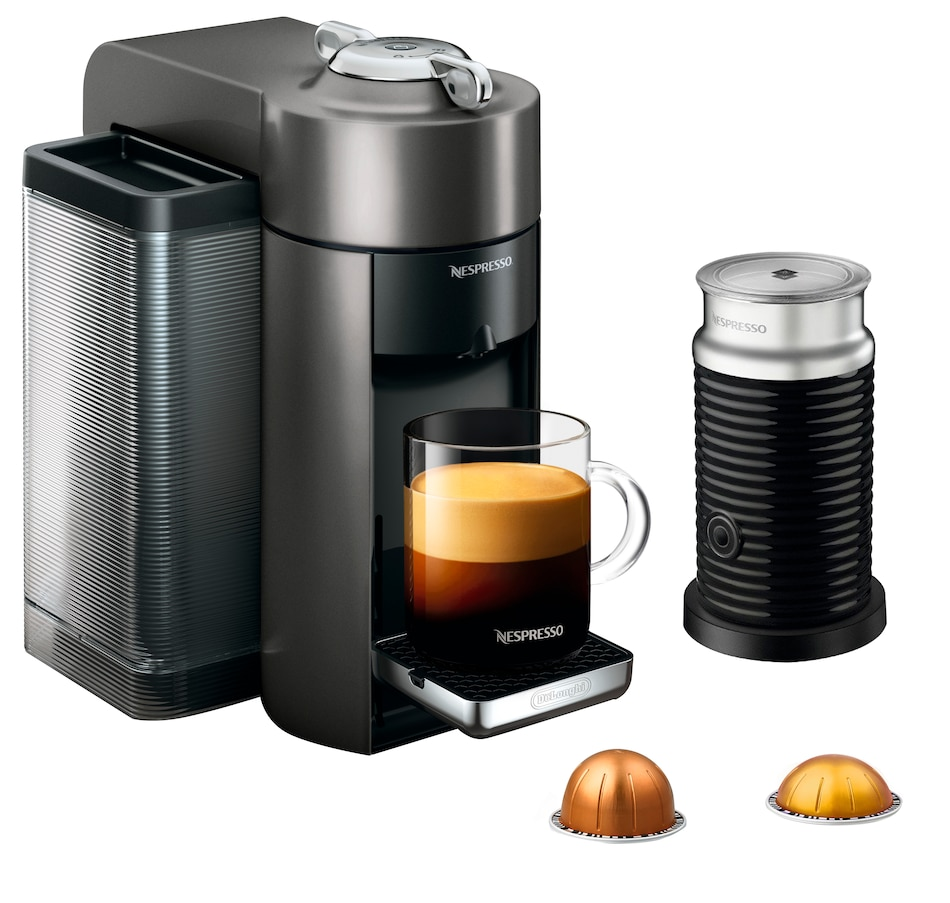Image 554168_GPT.jpg , Product 554-168 / Price $223.99 , Nespresso Vertuo Coffee Machine with Aeroccino Milk Frother by De'Longhi from Nespresso on TSC.ca's Kitchen department