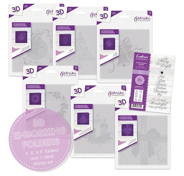 """Crafter's Companion 3-D 6"""" x 6"""" Embossing Folder and Stamp Set"""