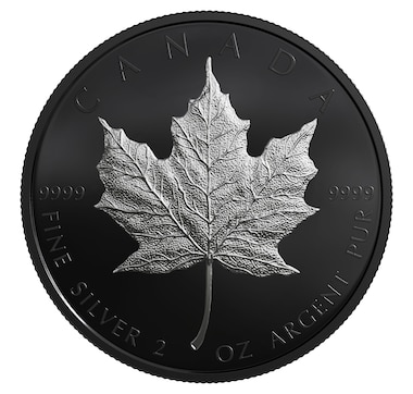 2019 Midnight Maple Leaf $10 Fine Silver Coin Black Rhodium Plated Silver Maple Leaf