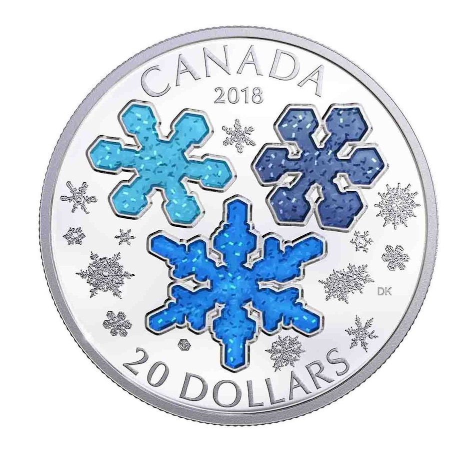 Image 554469.jpg , Product 554-469 / Price $68.88 , 2018 $20 Fine Silver Coin Sparkling Blue Enamel Snowflakes from Royal Canadian Mint on TSC.ca's Coin department
