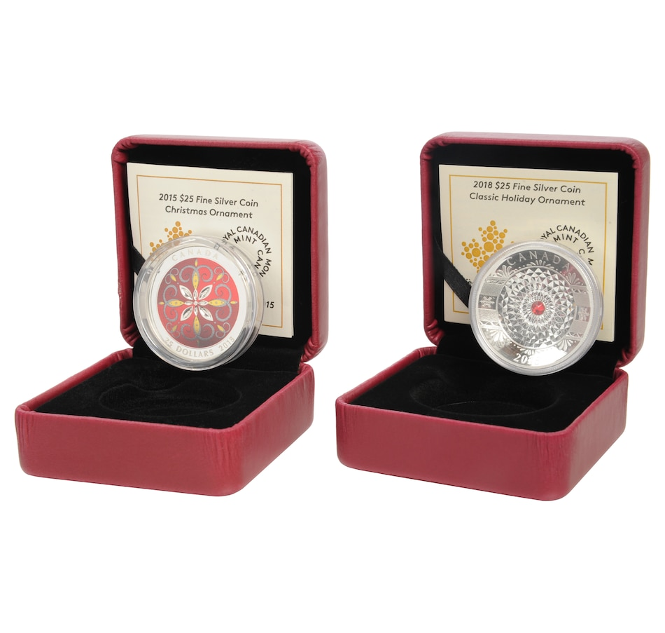 Image 554470.jpg , Product 554-470 / Price $298.90 , Set of Two $25 Holiday Ornament Fine Silver Coins from Royal Canadian Mint on TSC.ca's Coin department