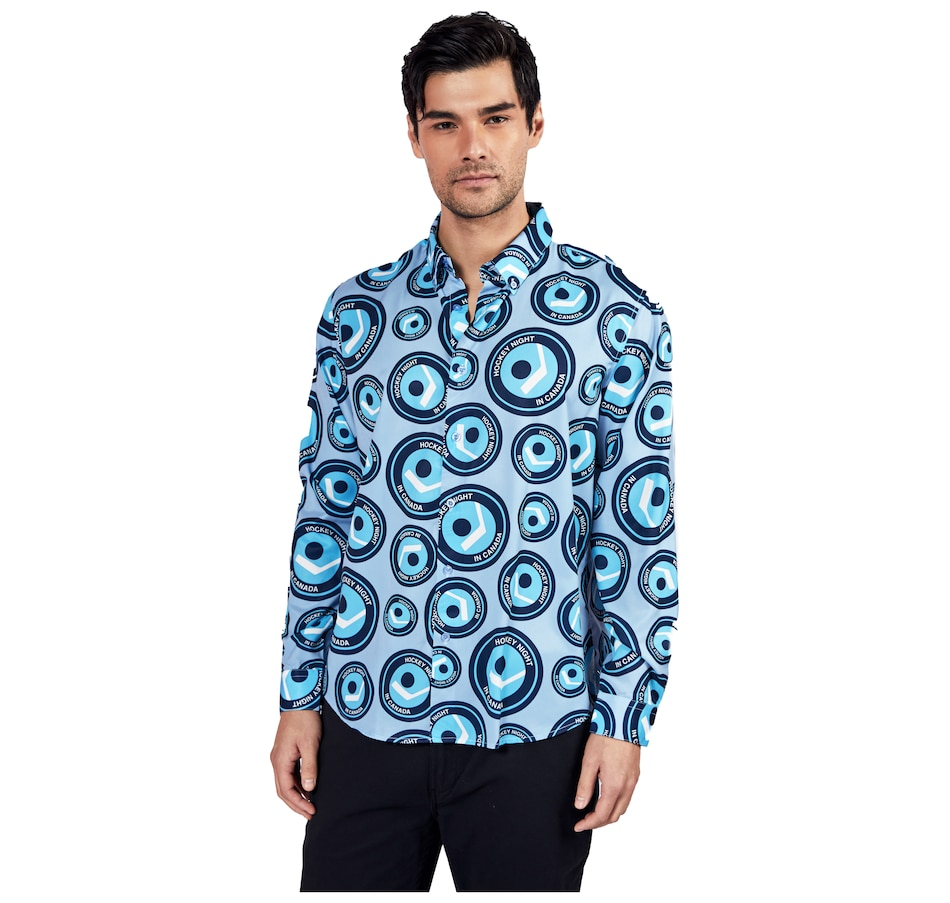 Image 554528.jpg , Product 554-528 / Price $90.00 , Hockey Night in Canada All-Over Print Men's Dress Shirt from Hockey Night in Canada on TSC.ca's Sports department