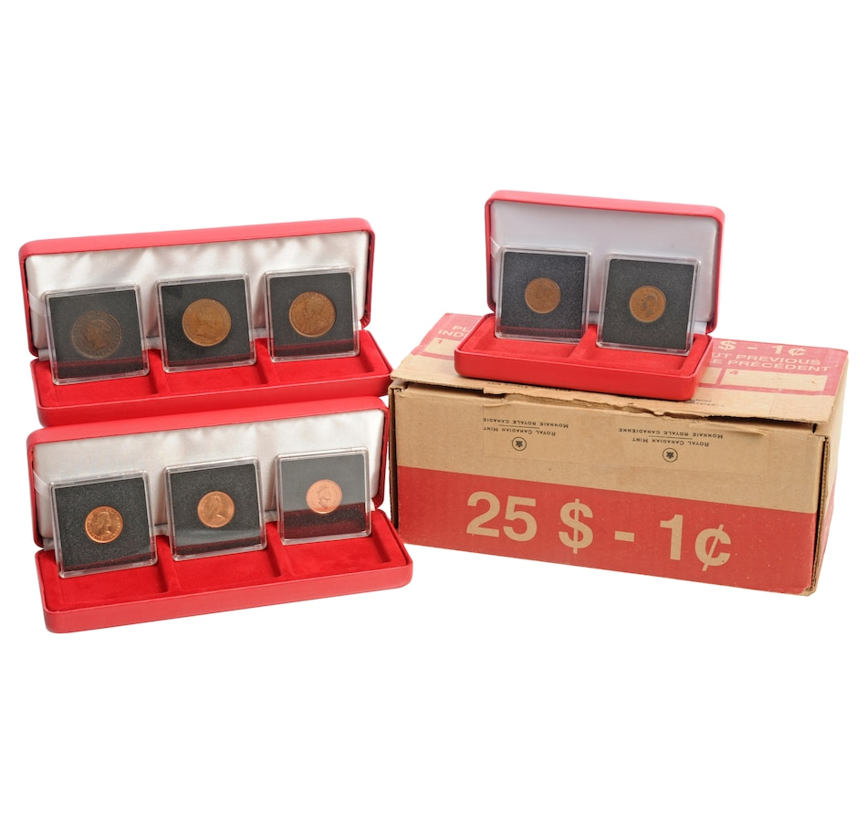 Image 554544.jpg , Product 554-544 / Price $399.95 , Canada's Last Low-Mintage 2012 One-Cent Coins (Complete Original RCM Sealed Box of 50 Rolls (Date-Stamped May 4, 2012) plus Bonuses from Royal Canadian Mint on TSC.ca's Coin department