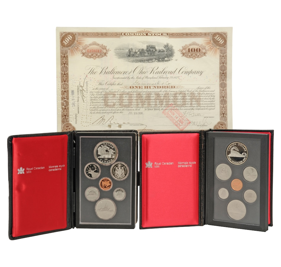 Image 554545.jpg , Product 554-545 / Price $118.88 , 1981 and 1986 Prestige Proof Sets Plus B&O Railroad Stock Certificate from Royal Canadian Mint on TSC.ca's Coin department