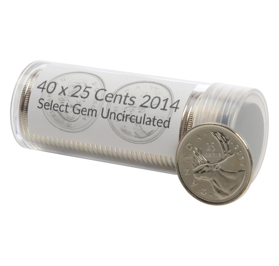 Image 554548.jpg , Product 554-548 / Price $68.88 , 2014 Quarter Coins All Gem Uncirculated - 40 Coins in Acrylic Tube from Canadian Coin & Currency on TSC.ca's Coin department