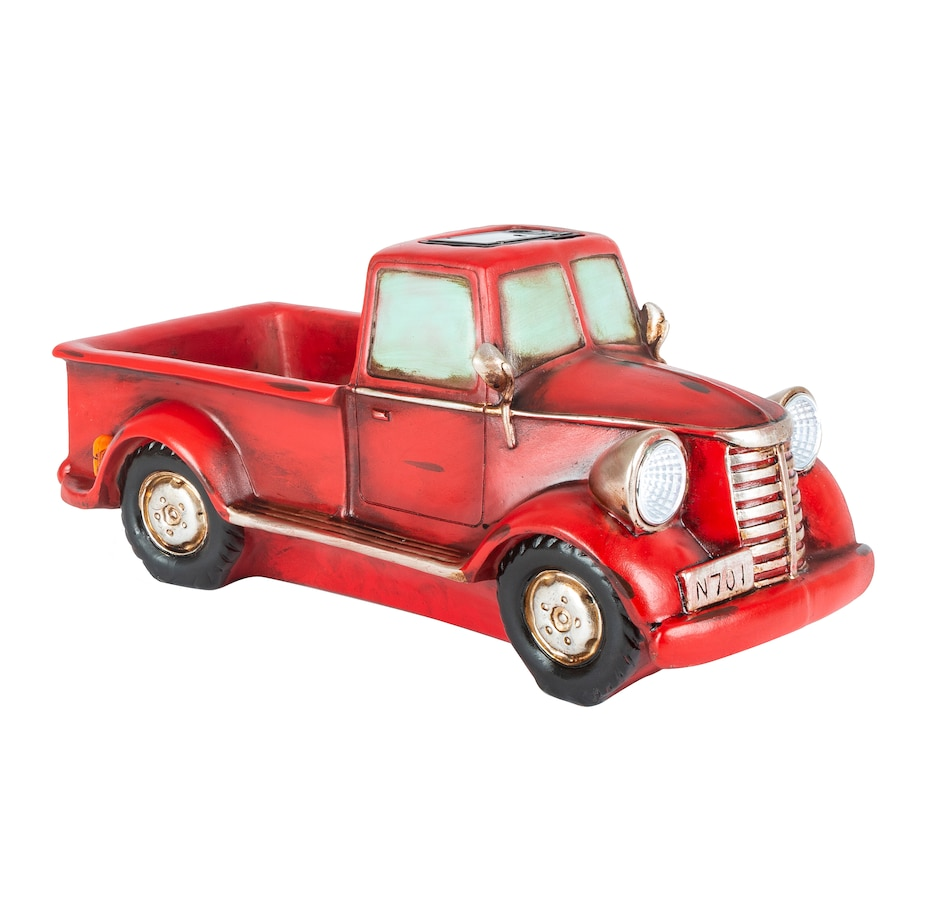"Image 554683_RED.jpg , Product 554-683 / Price $24.33 , 16"" Solar Lighted Resin Antique Truck Planter  on TSC.ca's Home & Garden department"
