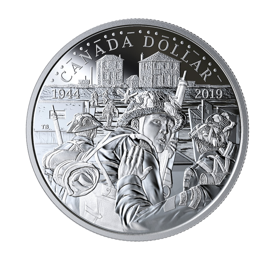 Image 554766.jpg , Product 554-766 / Price $59.95 , 2019 Proof Fine Silver Dollar 75th Anniversary of D-Day from Royal Canadian Mint on TSC.ca's Coin department