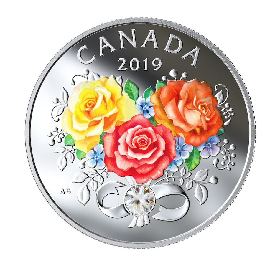 Image 554767.jpg , Product 554-767 / Price $54.95 , 2019 $3 Celebration of Love Fine Silver Coin from Royal Canadian Mint on TSC.ca's Coins department