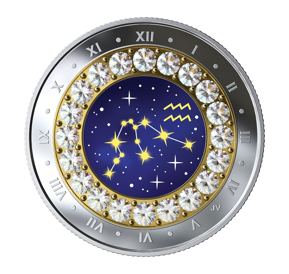 Image 554768.jpg , Product 554-768 / Price $54.95 , 2019 $5 Zodiac Series Fine Silver Coin Aquarius (January 20-February 18) from Royal Canadian Mint on TSC.ca's Coin department