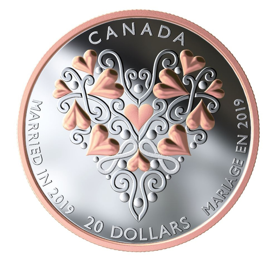 Image 554770.jpg , Product 554-770 / Price $109.95 , 2019 $20 Fine Silver Proof Coin Best Wishes on Your Wedding Day from Royal Canadian Mint on TSC.ca's Coin department