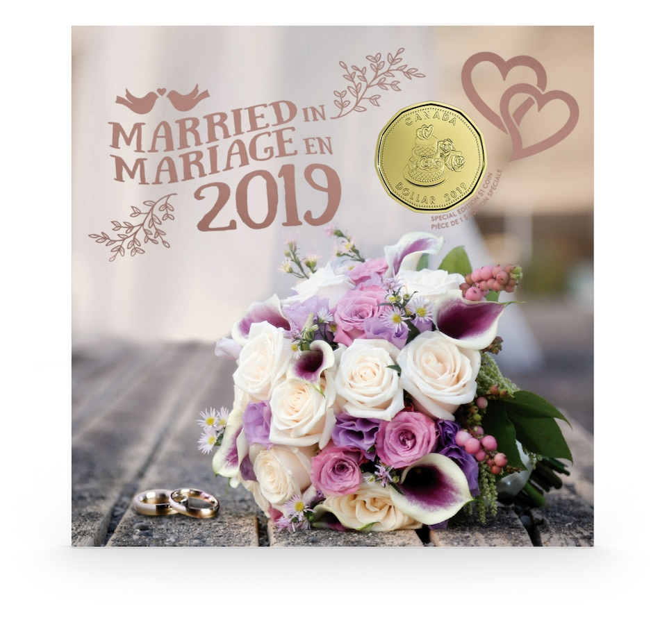"Image 554791.jpg , Product 554-791 / Price $21.95 , 2019 Wedding Numismatic Uncirculated Gift Set - 5 Coins including Unique ""Wedding"" Dollar from Royal Canadian Mint on TSC.ca's Coin department"